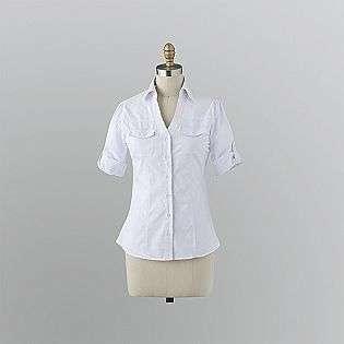 Junior Womens 3/4 Roll Sleeve Shirt   White  Bongo Clothing Juniors
