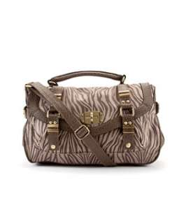 Brown Pattern (Brown) Exclusive Zebra Print Satchel  244112329  New