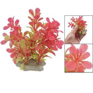 Green Red Plastic Water Plant Ornament w Ceramic Base for Aquarium