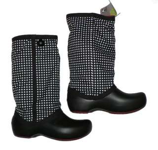 Womens Crocs Claire winter boots new Black Polka Dot