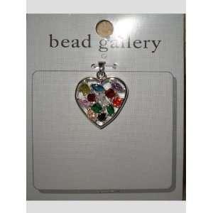 Multi Color Cubic Zirconia Heart Pendant Arts, Crafts & Sewing