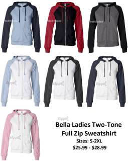 Bella Ladies Two Tone Full Zip Hooded Sweatshirt 7010
