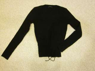 Womans Sisley Black Crew Neck Sweater Size Small