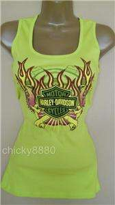 HARLEY DAVIDSON Lime Green Stretch Ribbed Tank Top NWT M