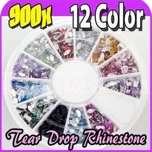 900 X MIX COLOR TEAR DROP RHINESTONE GEMS NAIL ART