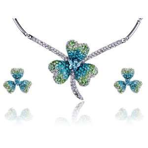 Lucky Blue Green Irish Clover Swarovski Crystal Rhinestone