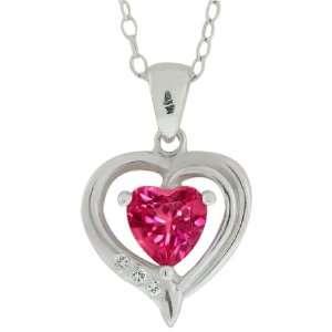 1.00 Ct Mystic Pink Topaz & Diamond Heart Shape Pendant