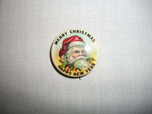 VINTAGE SANTA CLAUS MERRY CHRISTMAS HAPPY NEW YEAR 1 1/2 PINBACK