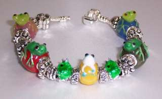 MURANO LAMPWORK LARGE GLASS FROG BEAD CHARM BRACELET SILVER SPACER