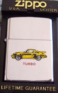 ZIPPO Lighter Yellow Porsche Turbo NEW Mint In Box 1997 High Polish