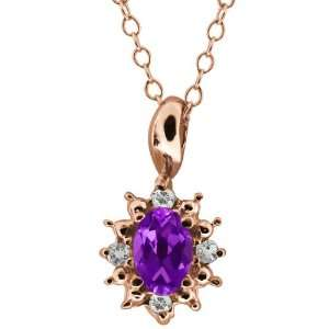 0.53 Ct Oval Purple Amethyst and Topaz Rose Gold Plated