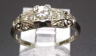 18K Solid white gold 11 diamond antique wedding Ring 2.4 gram size 6