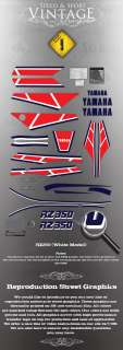 YAMAHA RZ350 TANK FAIRING COVER COMPLETE DECAL KIT