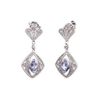 10k White Gold Tanzanite and Diamond Leverback Earrings (0