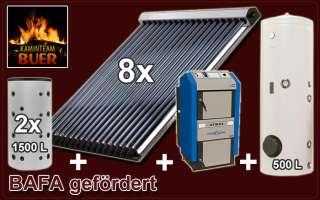 Solaranlage 39,36 qm Holzvergaser Atmos DC 50 GSE Pufferspeicher