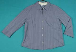 Liz Claiborne Size XL 16 18 Purple Cotton Shirt Top Blouse