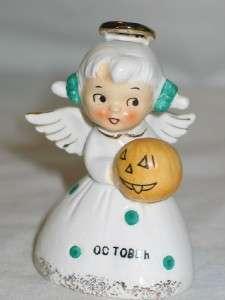 Ceramic October Angel Month Birthday Bell 1950s Halloween JOL