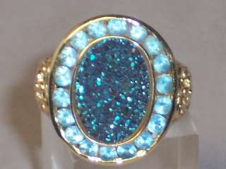 14K YELLOW GOLD BLUE TOPAZ DRUZY RING DRUSY