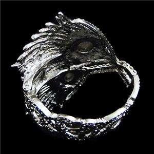 Peacock Plume Bracelet Bangle Cuff Swarovski Crystal