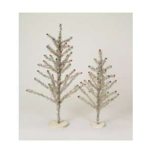 Silver & Multi Colored Tinsel Christmas Trees   Unlit