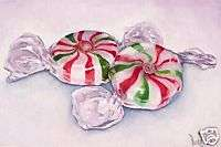 ORIGINAL Oil Painting Mint Candy Still Life Art by VERN