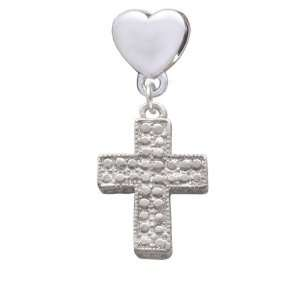 Cross   Faux Stone  opean Heart Charm Dangle Bead
