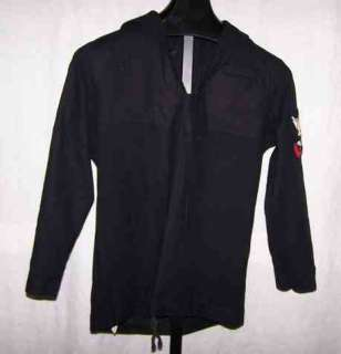 Vintage Navy Blue Wool Shirt * Small 36 1 Stripe Patch