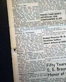 ALLEUTAIN ISLANDS EARTHQUAKE Alaska & Hawaii Tsunami 1946 Newspaper
