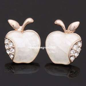 Sweet Apple 18K Rose Gold GP Swarovski Crystal & Shell Stud Earring