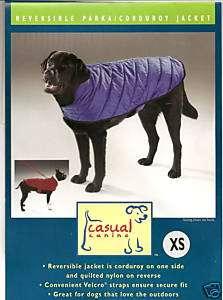CASUAL CANINE Reversible Corduroy/Nylon Dog Coat XS Extra Small Blue