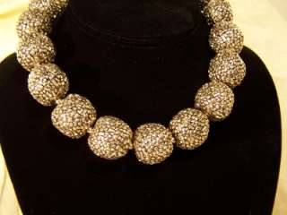 Kenneth Lane Gold tone Large Funky Beaded Costume Necklace New