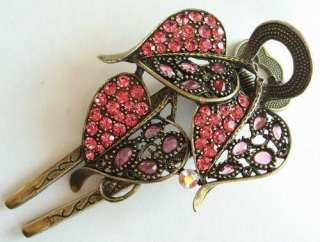 SWAROVSKI CRYSTAL 3 BIG BRONZE LEAF HAIR BARRETTE CLIP 1446