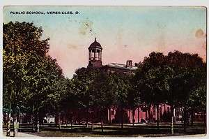 1908 VERSAILLES Ohio Postcard SCHOOL Darke County Greenville