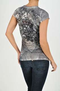 Womens NEW Junior Plus Size Shirt with Short Sleeves and Rhinestones