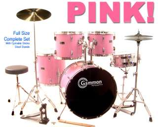 NEW 5 Piece PINK DRUM SET COMPLETE KIT w CYMBALS STANDS