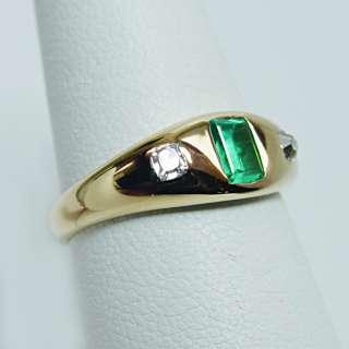 Antique Gem Emerald Old Mine cut Cushion Diamond 18K Gold Ring Estate