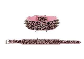 Monster Studded Spikes Dog Collar Leash Set Pink Leopard Large Size 22