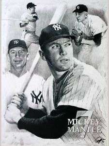 Mickey Mantle Sketch Portrait Charcoal Pencil Drawing