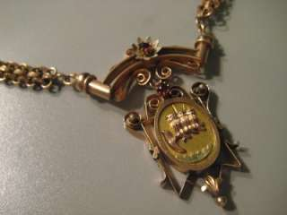 Antique Victorian Gold Filled Mourning Necklace 3 Owls