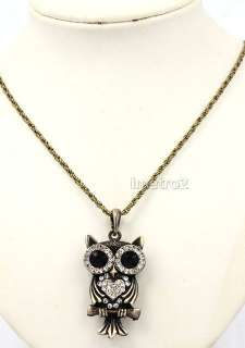 Cute big eyes owl night bird swarovski crystal vintage bronze chain