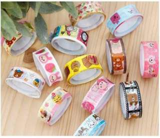 10 x Colorful Cute Cartoon Deco Tape Kawaii Adhesive Sticker 1.5cm