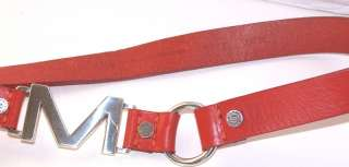 MICHAEL KORS MK BELT RED LEATHER SILVER CLIP LARGE