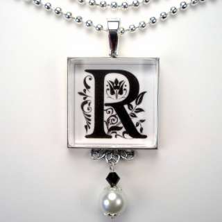 INITIAL LETTER R MONOGRAM PEARL CHARM PENDANT NECKLACE