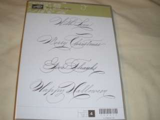 NEW Clear Mount Stampin Up 4 Rubber Stamps Hand Penned Holidays Merry