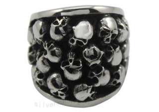 Size 11 Mens Silver Biker Skulls Stainless Steel Ring ZR011