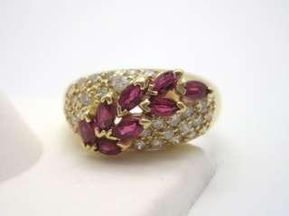 Ruby & Diamond Encrusted 14k Yellow Gold Cocktail Ring 6 3/4