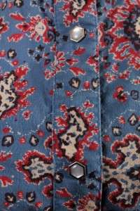 womens blue red RALPH LAUREN POLO western pearl snap shirt top blouse