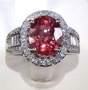 GIA Certified 18kt W/Gold 4.57 tcw Pink Oval Cut Natural Sapphire