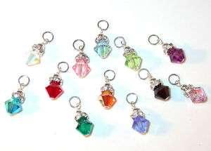 SILVER CHARM Swarovski Crystal Elements BIRTHSTONE Any Month