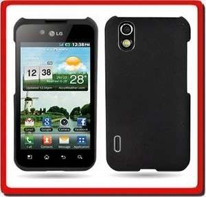 Black Rubberized Hard Faceplate Case Phone Cover For Sprint LG Marquee